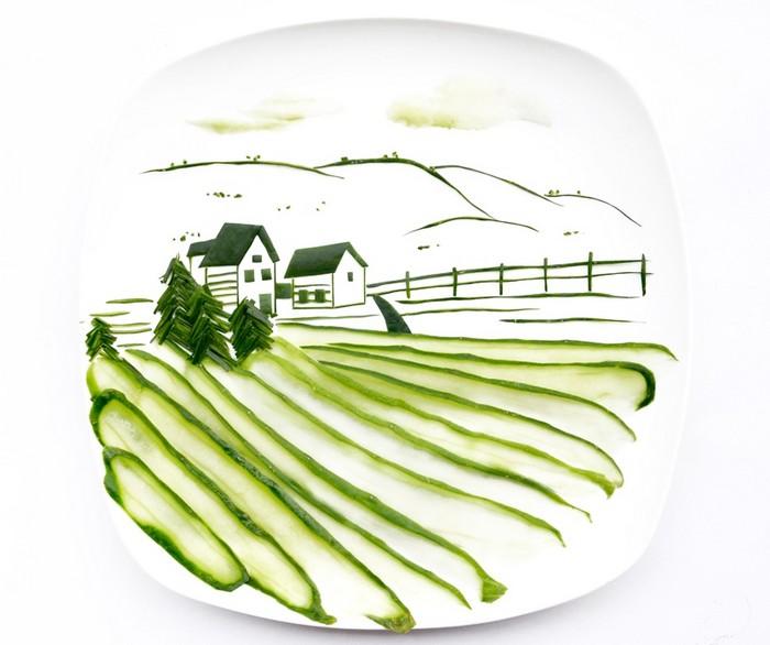 День 18. Огуречный пейзаж. 31 days of creativity with food. Hong Yi aka Red