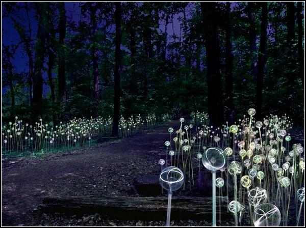 Светящийся лес в инсталляции Брюса Мунро (Bruce Munro)