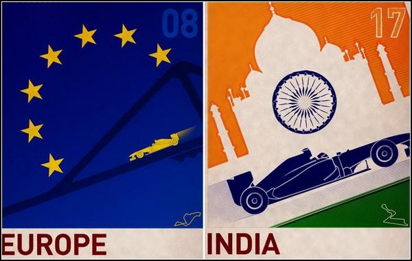 Серия постеров Formula 1 в стиле ретро