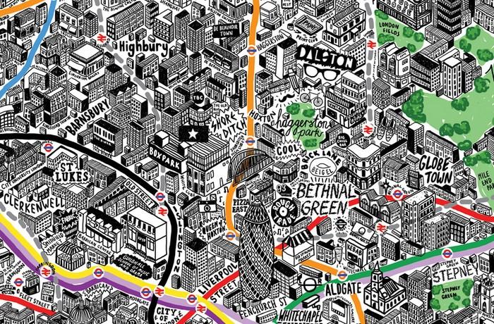 London by hand – нарисованная от руки карта Лондона