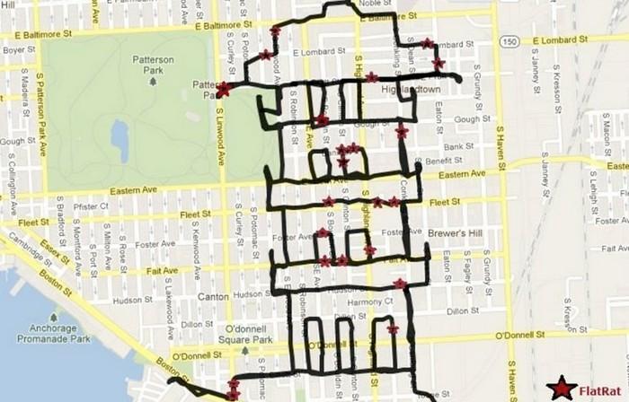 Pagoda, GPS drawing, Michael Wallace