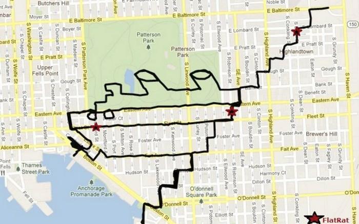 Titanic, GPS drawing, Michael Wallace