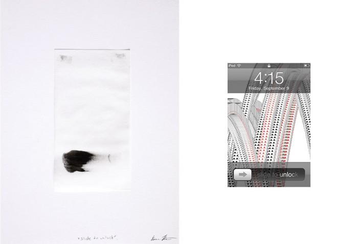 Slide to unlock, Multi-touch Finger Paintings, Evan Roth