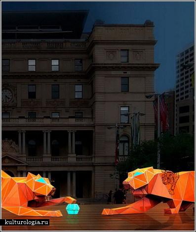 Гигантские тигры из оригами в Сиднее