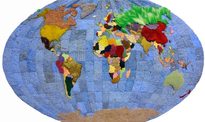 Карта мира из старых губок от Джеффри Аллена Прайса (Jeffrey Allen Price)