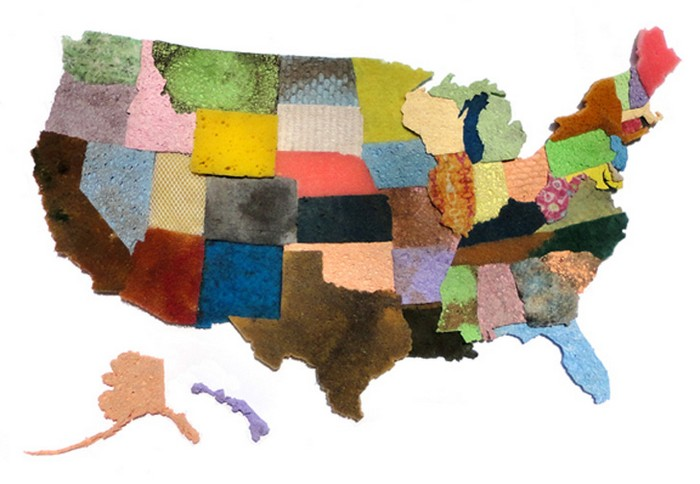 Карта США из старых губок от Джеффри Аллена Прайса (Jeffrey Allen Price)