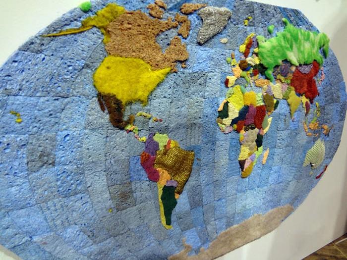 Карта Манхеттена из старых губок от Джеффри Аллена Прайса (Jeffrey Allen Price)