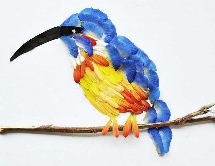 Птицы от Хун И (Hong Yi), сделанные из цветочных лепестков