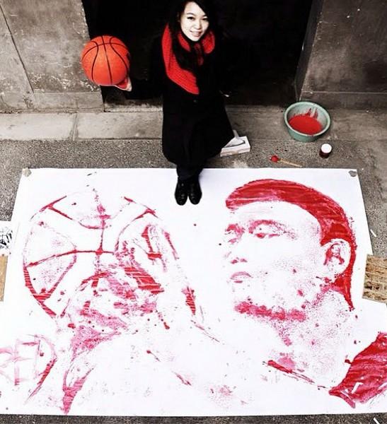 Портрет баскетболиста Яо Мина от Хун И (Hong Yi)