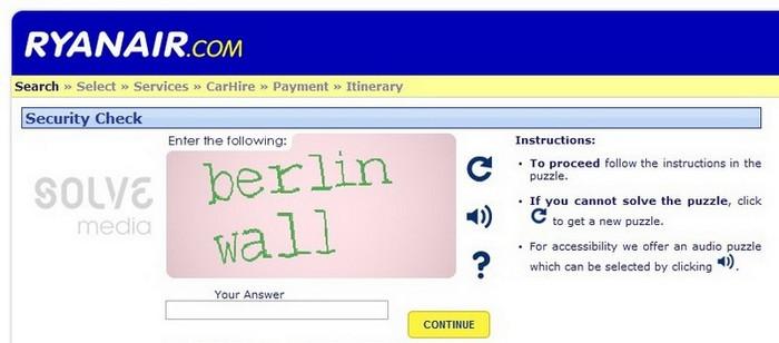 Сайт авиакомпании Ryanair: как делать правильные капчи