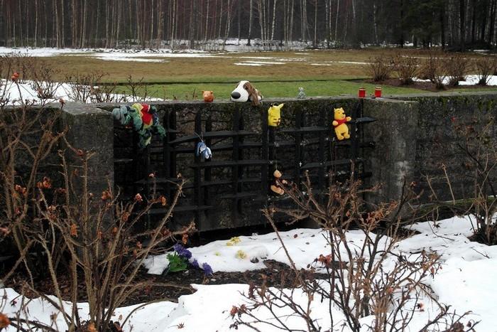 Игрушки на месте детского барака концлагеря Саласпилс