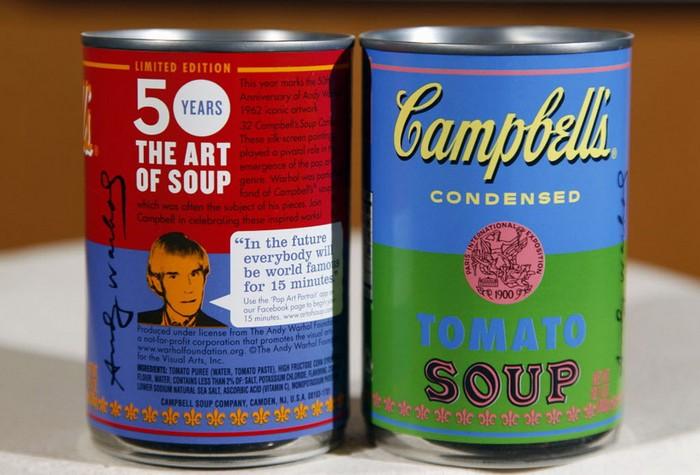 Партия супа Campbell с дизайоном от Энди Уорхола