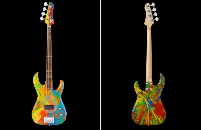 Multi colored bass guitar от Damien Hirst и Flea