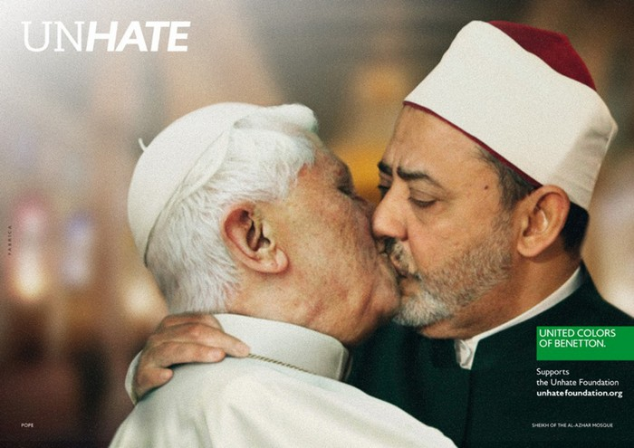 Римский Папа Бенедикт XVI и имам каирской мечети Аль-Азгар, Unhate, United Colors of Benetton