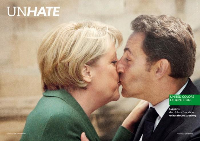 Ангела Меркель и Николя Саркози, Unhate, United Colors of Benetton