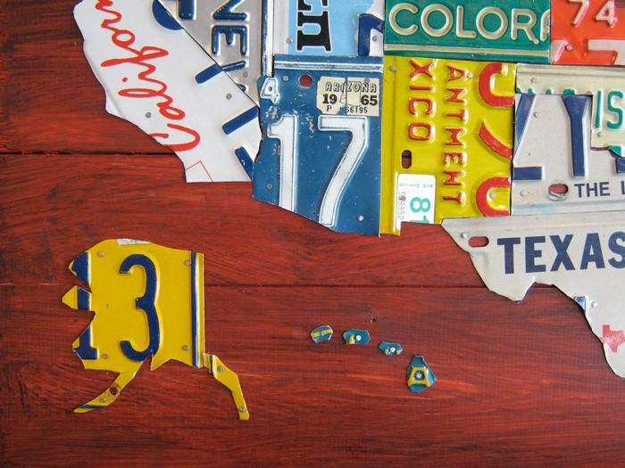 Карты License Plate Art and Maps из автомобильных номерных знаков