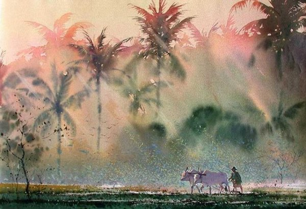 Очарование Востока в акварелях Myoe Win Aung.