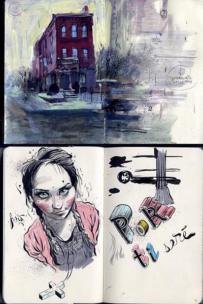 Рисунки в молескине Andres Guzman
