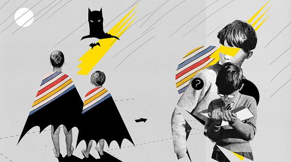 Винтажные коллаж от Marek Haiduk: Бэтмэн из 70ых, мальчики из 20ых