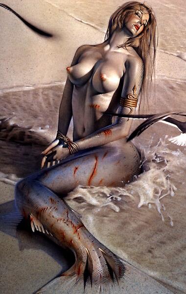 Сексуальная русалка от Hajime Sorayama