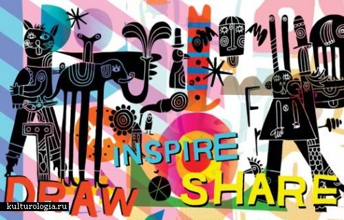 Яркие каракули на бумаги и кроссовках от иллюстратора Саймона Уайлда (Simon Wild)