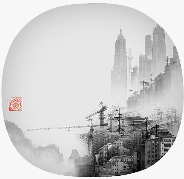 Yang Yongliang затрагивает тему мрачного духа города