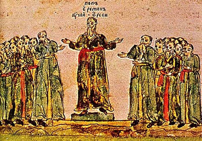 «Проповедующий поп-еретик». Миниатюра, XIV в.