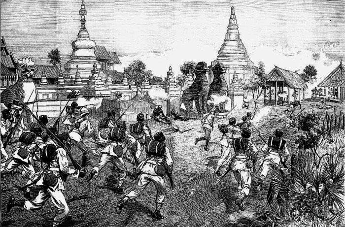 Атака британских солдат. Англо-Бирманская война XIX века.