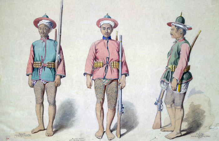 Бирманские пехотинцы времен Второй Англо-Бирманской войны, акварель 1855 года.
