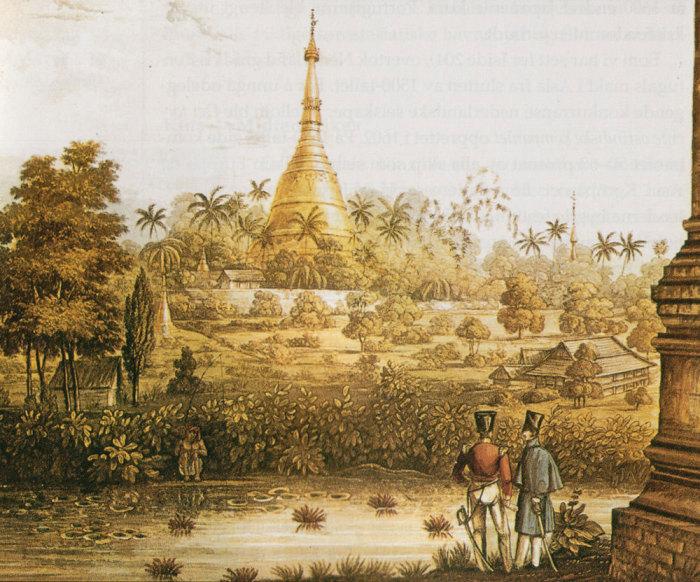 Британские офицеры перед пагодой в Бирме, литография XIX в.