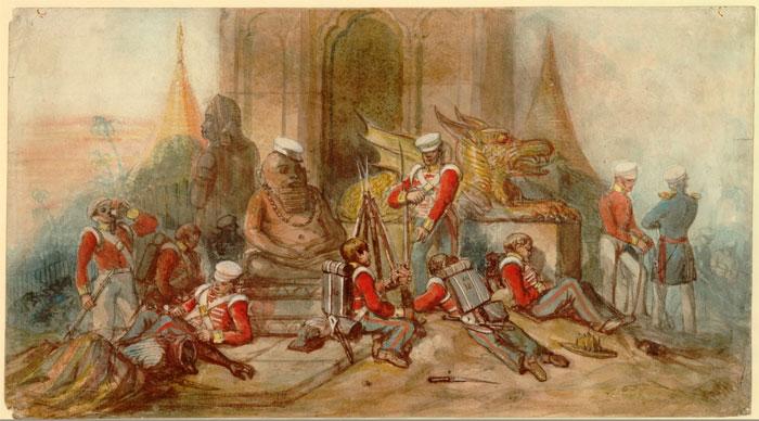 Британский; 18-й (Королевский ирландский) Пехотный полк в Рангуне, 1852 г. Автор: К.Б. Сполдинг. Зарисовка содержит важную неточность. Королевские ирландцы, как и все королевские полки, были одеты в синий цвет. Солдаты на рисунке носят желтый цвет, хотя на рюкзаке хотя одного солдата изображена цифра 18.