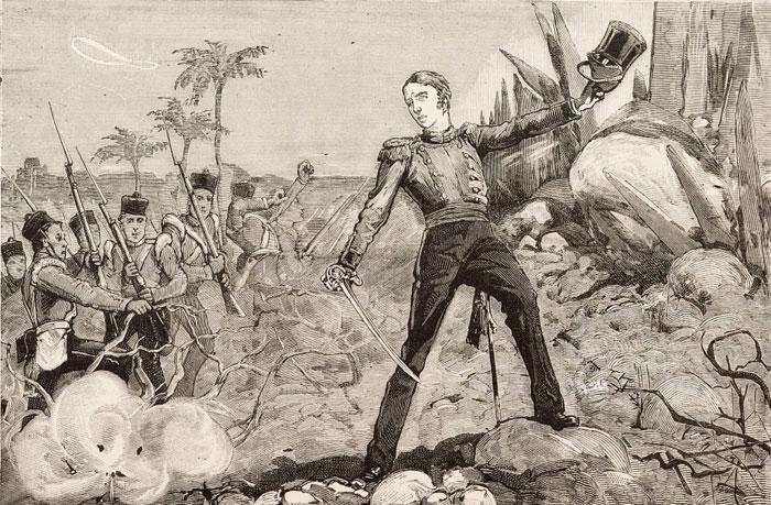 Гарнет Уолсли ведет солдат в атаку.