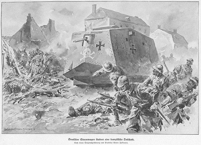 Германские войска захватывают французскую деревню во время Первой Мировой войны.