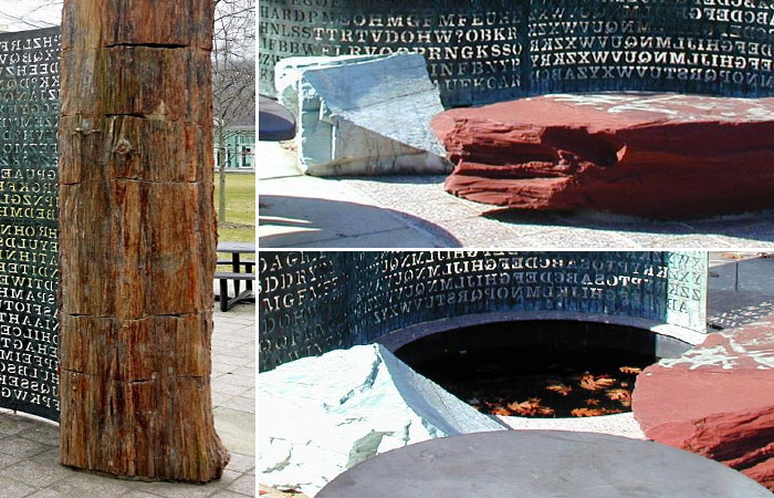 Элементы скульптуры Криптос возле здания ЦРУ.