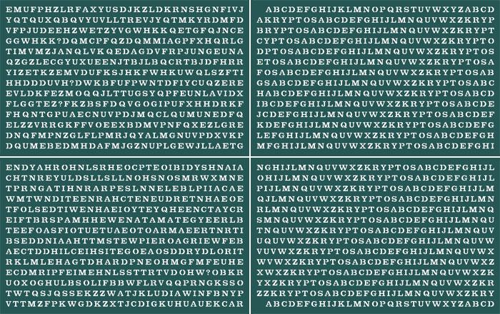Зашифрованный текст на скульптуре Криптос.