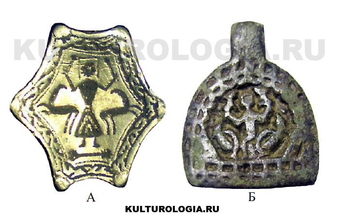 Традиционное для древней Руси изображение «Полёт Александра Македонского на небо» на площадке перстня (А) и подвеске (Б).