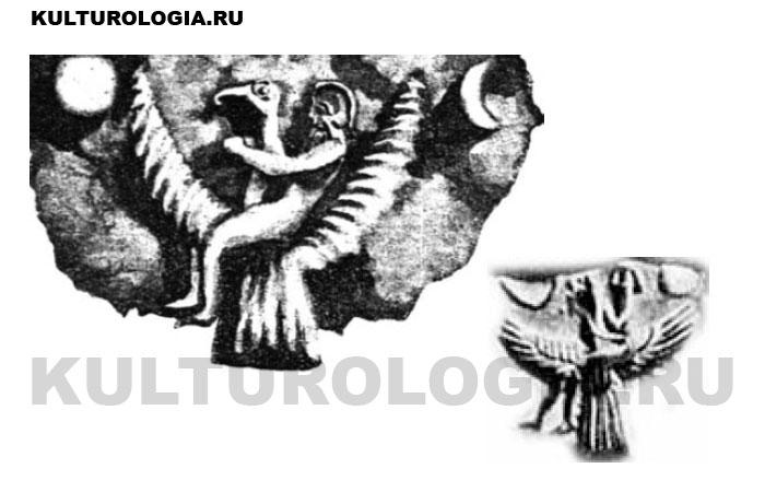 «Полёт царя Этана». Изображения фрагментов на цилиндрических печатях, найденных при раскопках в Ниневии.
