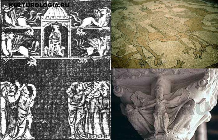«Полёт Александра» на миниатюре 1320 года и в других источниках.