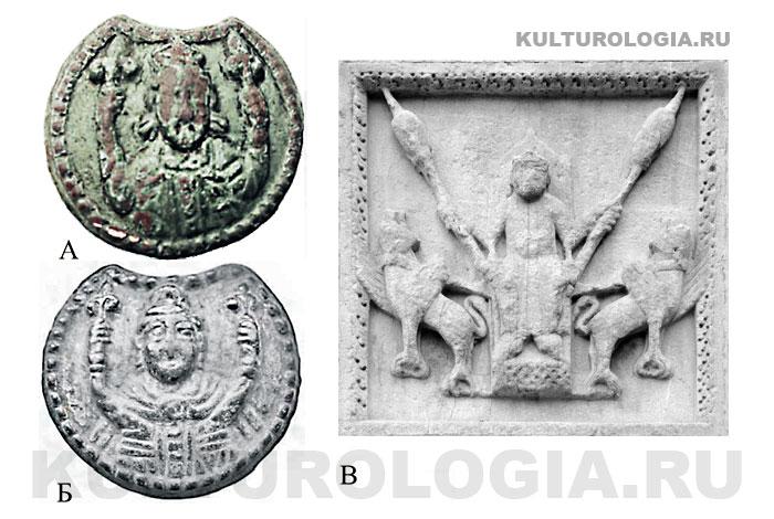 Матрицы для изготовления колта найденные в Украине (А, Б). Крины в руках царя направлены вверх, как копья на барельефе (В).
