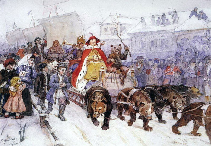 Большой новогодний маскарад 1722 года на ÑƒÐ»Ð¸Ñ†Ð°Ñ ÐœÐ¾ÑÐºÐ²Ñ‹ с участием Петра I. Художник Василий Иванович Суриков.