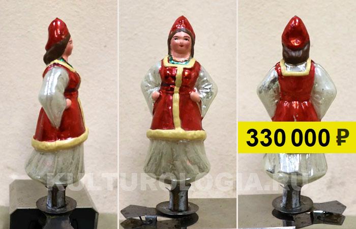 Советская ёлочная игрушка «Красавица в шубке». Продана на аукционе за 330 тыс. руб.