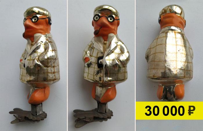 Советская ёлочная игрушка «Мистер Моркоу» из набора по сказке «Чиполлино». Продана на аукционе за 30 тыс. руб.