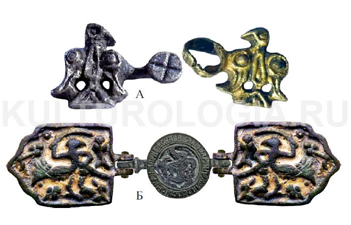Сокол на пряжке домонгольского периода (А) и пряжке второй половины XVII века (Б).