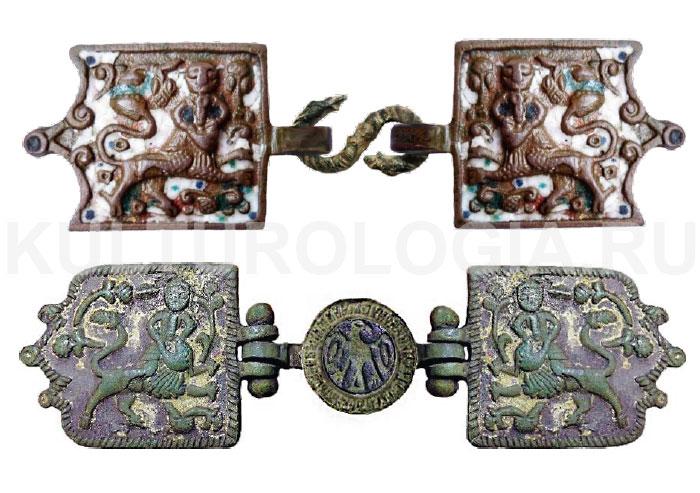 Русские поясные пряжки XVII-XVIII вв. - «Самсон и лев»