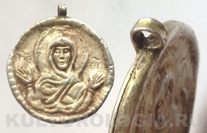 Древнерусская серебряная иконка с изображением Богородицы, XIII век.