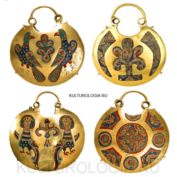 Древнерусские золотые колты с перегородчатой эмалью, 11-12 век.