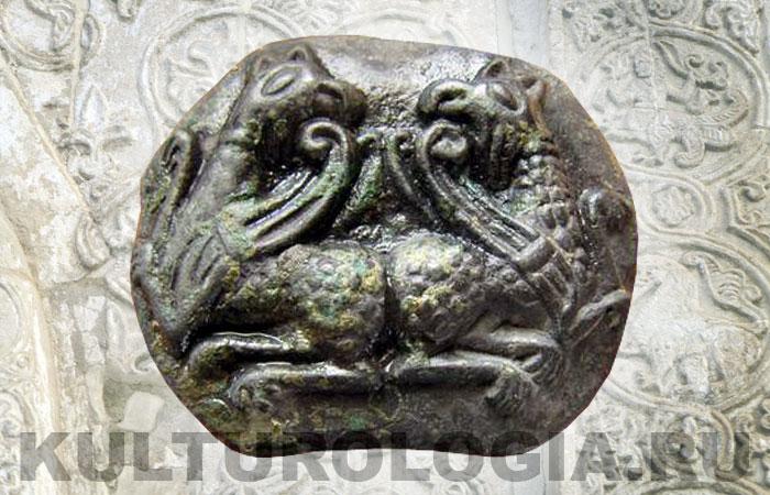Древнерусская ювелирная матрица с изображением грифонов, 11-13 вв.