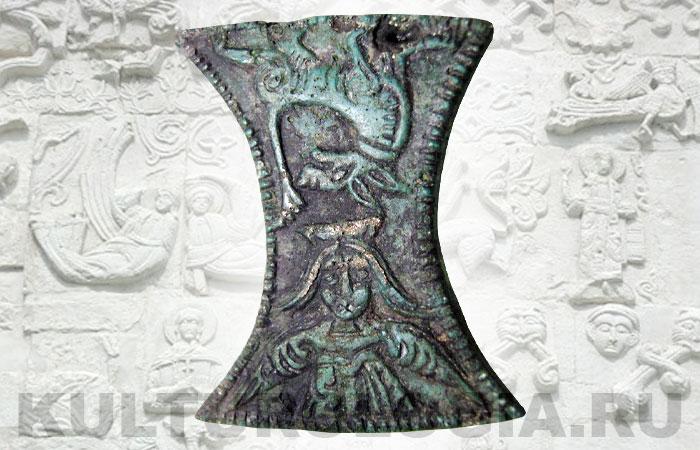 Древнерусская матрица для выколотки поясных накладок с изображением птицы Сирин и Семаргла, 11-13 вв.