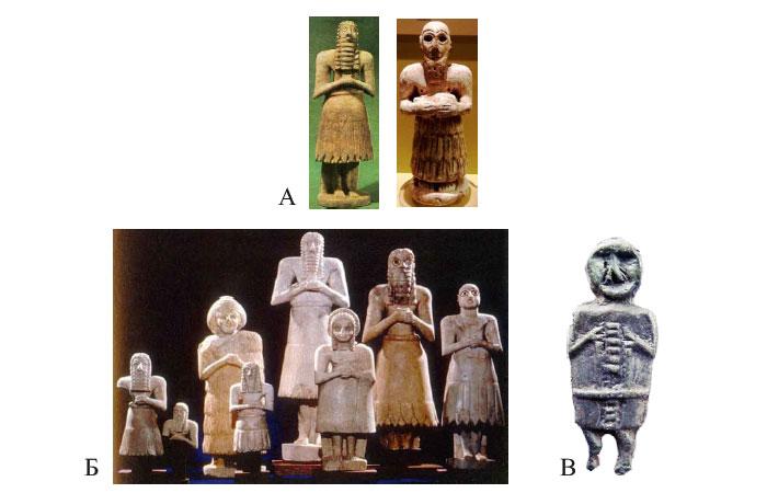 Статуэтки, найденные при раскопках на местах храмов в Месопотамии (А; Б) и похожая металлическая отливка фигурки, найденная на территории Украины (В).