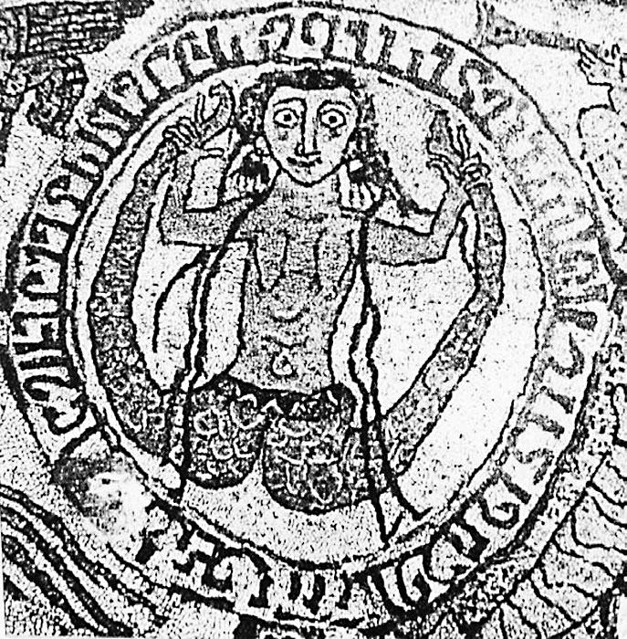 Сцилла на мозаике 1160-х гг. из кафедрального собора в Отранто.